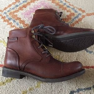 Cat Men's Brown Leather Ankle Boots Size 9